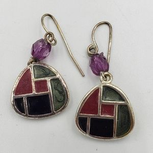 Kenneth Cole silver tone green/red inlay earrings